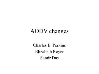 AODV changes