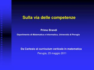 Da Cartesio al curriculum verticale in matematica