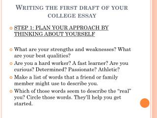 Writing the first draft of your college essay