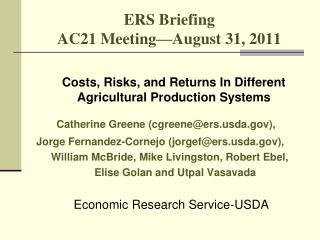 ERS Briefing AC21 Meeting August 31, 2011