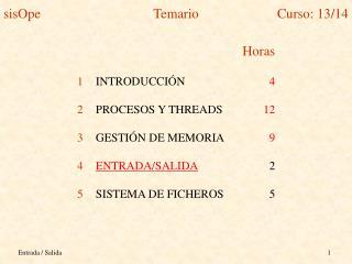 Horas INTRODUCCIÓN 4 PROCESOS Y THREADS 12 GESTIÓN DE MEMORIA 9 ENTRADA/SALIDA 2