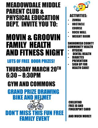 Meadowdale  middle Parent club & Physical education dept.  Invite you to: