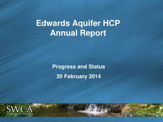 Edwards Aquifer HCP  Annual  Report