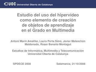 SPDECE 2008                                   Salamanca , 21 / 10 / 2008