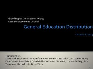 General Education Distribution  October 8, 2013