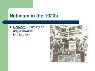 Nativism in the 1920s