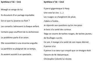 Synthèse n°16 – Cm1 Mowgli  se venge de lui. Ils discutent d'un partage équitable.