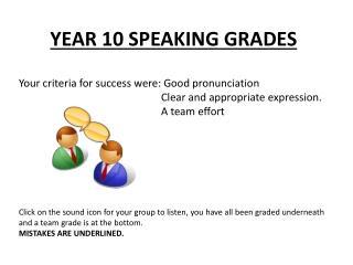 YEAR 10 SPEAKING GRADES