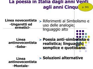 La poesia in Italia dagli anni Venti agli anni Cinquanta