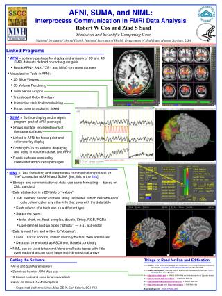 AFNI, SUMA, and NIML : Interprocess Communication in FMRI Data Analysis