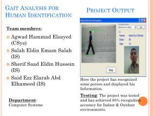 Gait  Analysis for Human  Identification