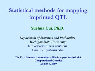 Statistical methods for mapping imprinted QTL