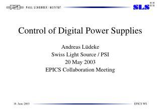 Control of Digital Power Supplies