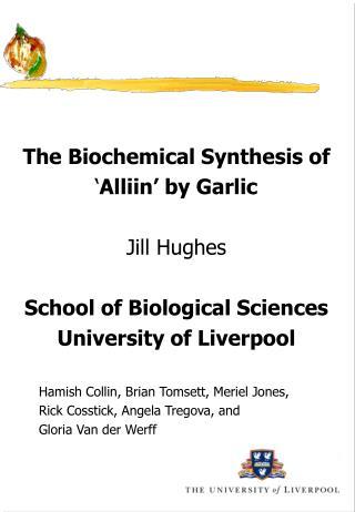 The Biochemical Synthesis of ' Alliin' by Garlic Jill Hughes School of Biological Sciences