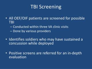 TBI Screening