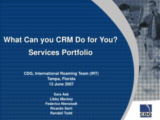 What Can you CRM Do for You?  Services Portfolio