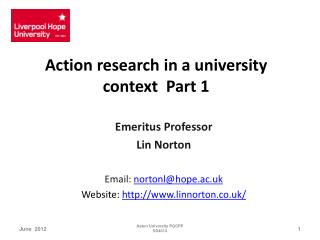 Action research in a university context  Part 1