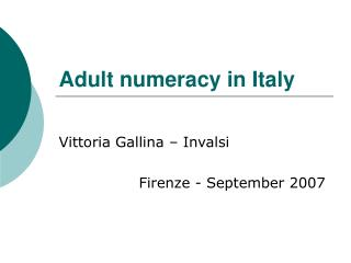 Adult numeracy in Italy