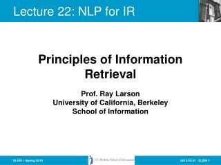 Lecture 22: NLP for IR
