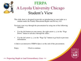 FERPA A Loyola University Chicago  Student's View