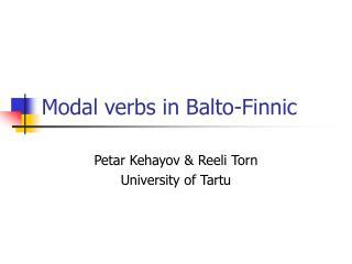 Modal verbs in Balto-Finnic