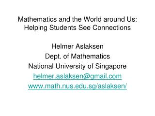 Mathematics and the World around Us: Helping Students See Connections