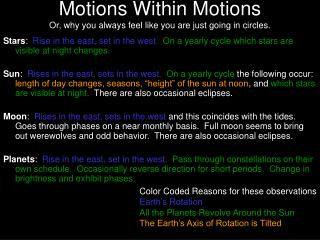 Motions Within Motions Or, why you always feel like you are just going in circles.