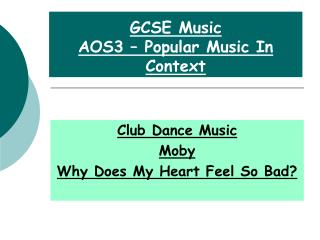 GCSE Music AOS3 – Popular Music In Context