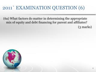 2011` EXAMINATION QUESTION (6)