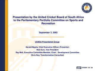 UCBSA Presentation Group : Gerald Majola, Chief Executive Officer (Presenter)