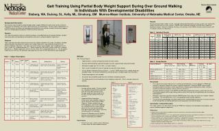 Gait Training Using Partial Body Weight Support During Over Ground Walking