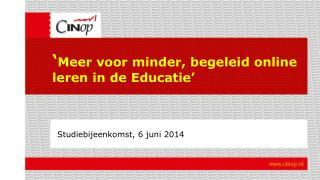 ' Meer voor minder, begeleid online leren in de Educatie'