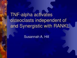TNF-alpha activates osteoclasts independent of and Synergistic with RANKL