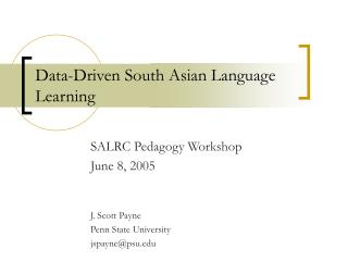 Data-Driven South Asian Language Learning
