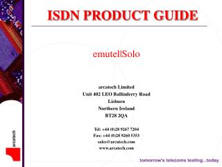 ISDN PRODUCT GUIDE
