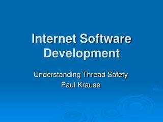 Internet Software Development