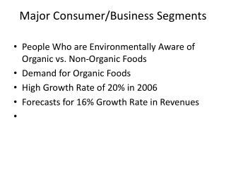 Major Consumer/Business Segments