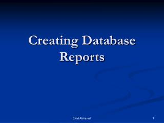 Creating Database Reports