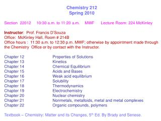 Chemistry 212 Spring 2010
