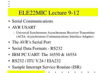 ELE22MIC Lecture 9-12