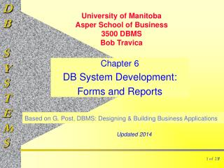 Chapter 6 DB System Development: Forms and Reports