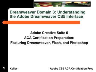 Dreamweaver Domain  3: Understanding  the Adobe Dreamweaver CS5 Interface