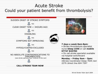 Acute Stroke Could your patient benefit from thrombolysis?