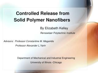Controlled Release from  Solid Polymer Nanofibers