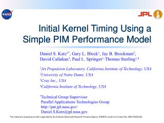 Initial Kernel Timing Using a Simple PIM Performance Model