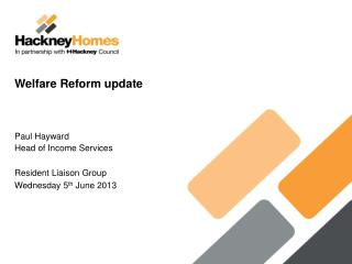 Welfare Reform update