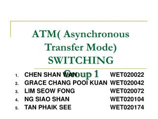 ATM( Asynchronous Transfer Mode) SWITCHING Group 1