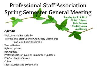 Professional Staff Association Spring Semester General Meeting