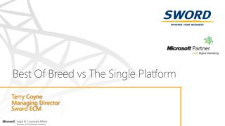 Best Of Breed  vs  The Single Platform