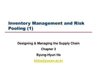 Inventory Management and Risk Pooling (1)